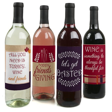 Friends Thanksgiving Feast - Friendsgiving Party Decorations for Women and Men - Wine Bottle Label Stickers - Set of 4 (Decorations For Thanksgiving)