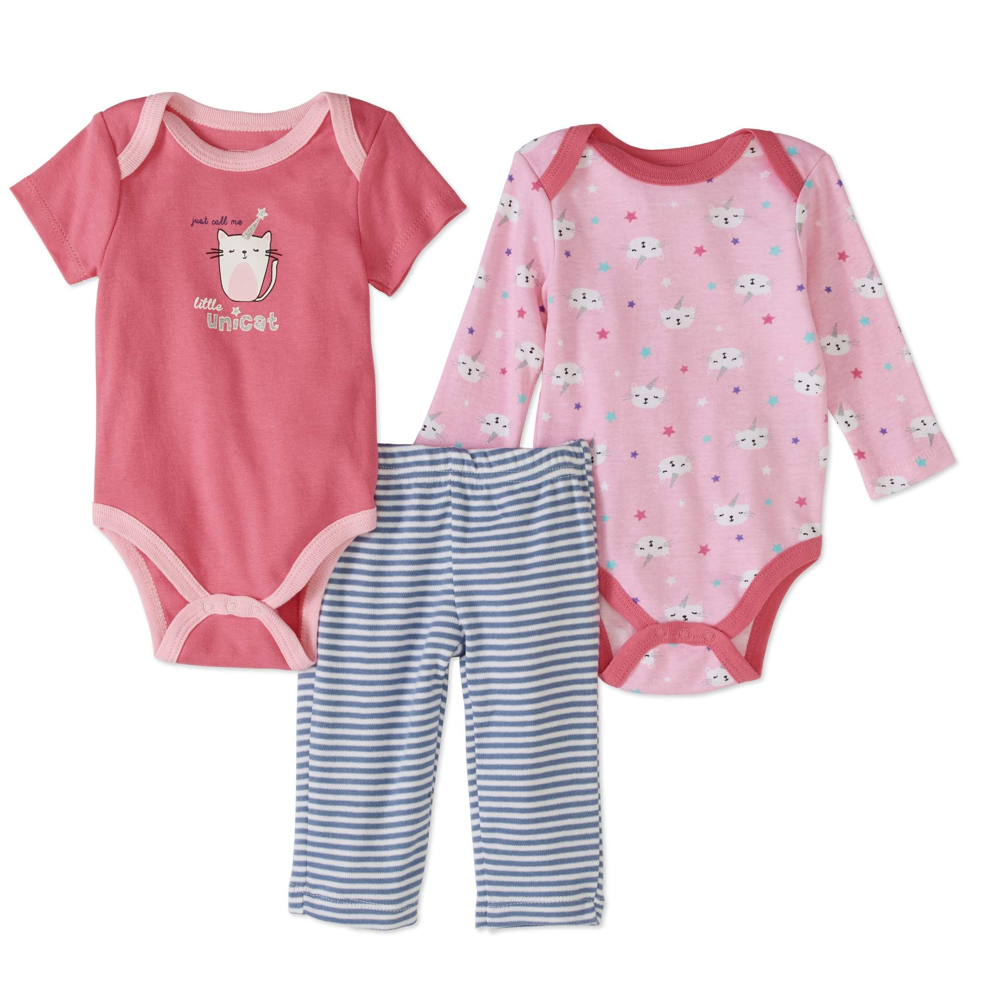 Quiltex Newborn Baby Girls' Turn-Me-Around 3-Piece Set