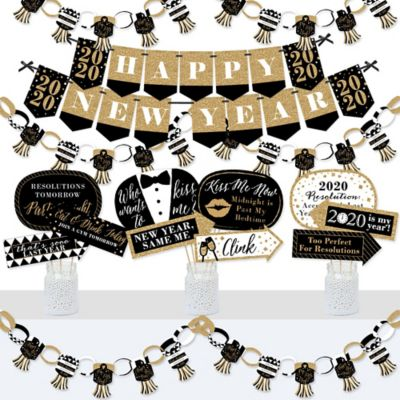 New Year's Eve - Gold - Banner and Photo Booth Decorations ...