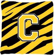 Carolines Treasures CJ1026-CPW1414 Monogram Initial C Tiger Stripe - Black Gold Decorative Fabric Pillow