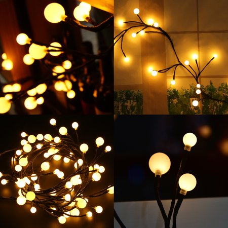 qiilu led string light indoor bedroom 2 5m 8 2ft flexible 72 led rattan style string lighting. Black Bedroom Furniture Sets. Home Design Ideas