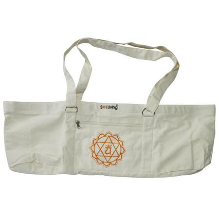 6078a3f43cb Sol Living Lightweight Organic Cotton Yoga Mat Carrier Eco-Friendly Yoga  Mat Bag Half White - Walmart.com