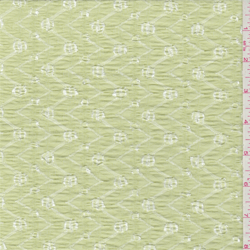 Celery Green Chevron Stretch Lace, Fabric By the Yard