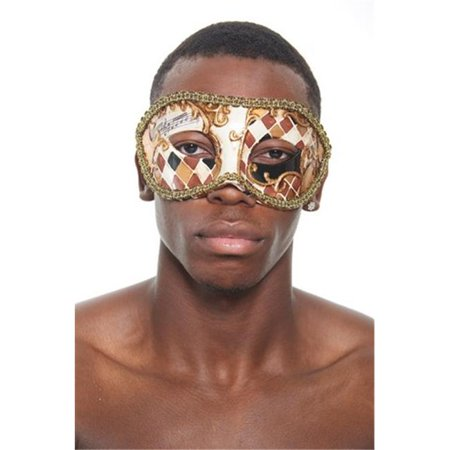 Kayso PM018GD Gold Venetian Plastic Masquerade Mask with Checkered Design & Gold Contour - Extreme Contouring Halloween