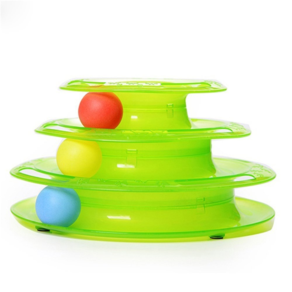 Eecoo Interactive Three Level Tower of Tracks Crazy Ball Cat Toy by