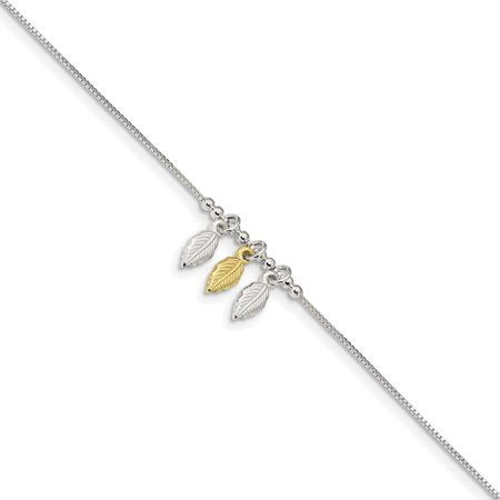 Sterling Silver & Gold-tone Polished Beaded Feather 9in w/1in Anklet (Weight: 2.39 Grams, Length: 9 Inches)