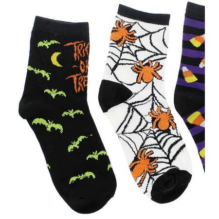 Halloween Huf Socks (Boo! Girl's Halloween Theme Crew Socks (3 Pr) (Trick Treats, Candy Corn,)
