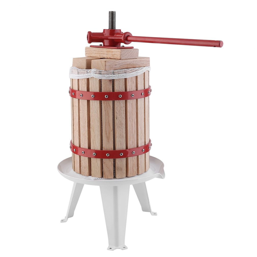 Gravy Boats 1.6 Gallon Fruit Wine Press Machine Apple Grape Crusher Juice Maker Tool, wooden color