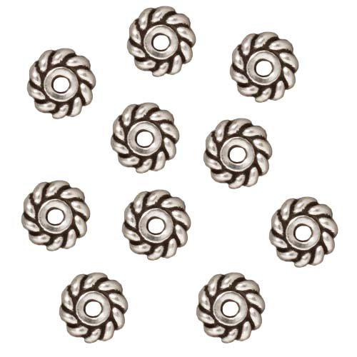 Silver Plated Pewter Twist Edge Heishe Spacer Beads 6mm (10)