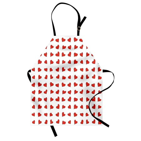 Romantic Apron Heart Pattern Lovers Valentines Day Cute Honeymoon Kids Girls Doodle Design, Unisex Kitchen Bib Apron with Adjustable Neck for Cooking Baking Gardening, Orange White, by Ambesonne