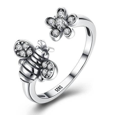 Ginger Lyne Collection Bee Flower Adjustable Ring CZ Sterling Silver Bee Hive Jewelry - Flower Ring Jewelry