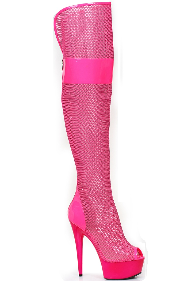 609-IVY, 6'' Peep Toe Thigh High Mesh Boot