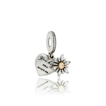 Snowflake Heart Hanging Charm - - Polished Snowflake Charm