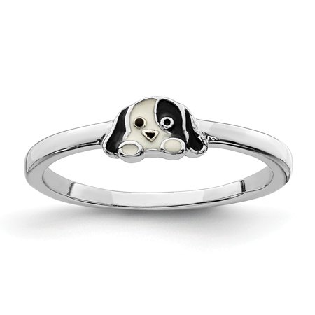 Kids Birthstone Rings (Mia Diamonds 925 Sterling Silver Rhodium-Plated Childs Enameled Puppy Ring Size -)
