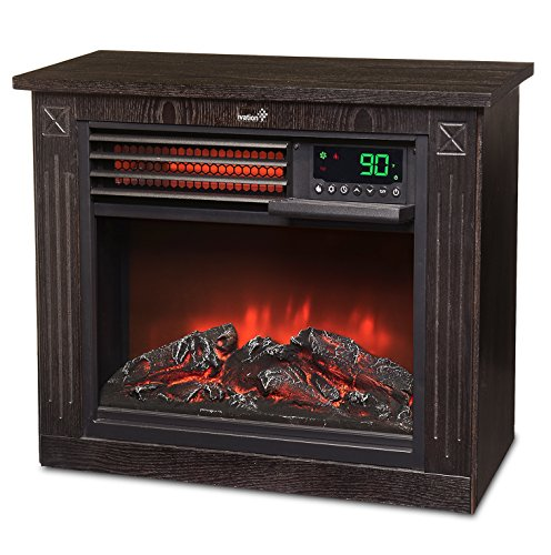 Ivation 5,100 BTU Infrared Quartz Fireplace  1500W Electric Heater with Realistic Flame, Digital Thermostat, Remote Control, Timer & Safety Shutoff