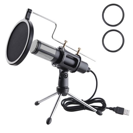 - Yescom Condenser USB Microphone with Tripod Stand for Game Chat Skype YouTube Studio Audio Recording Computer