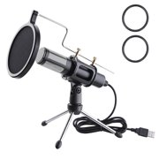 Yescom Condenser USB Microphone with Tripod Stand for Game Chat Skype YouTube Studio Audio Recording Computer