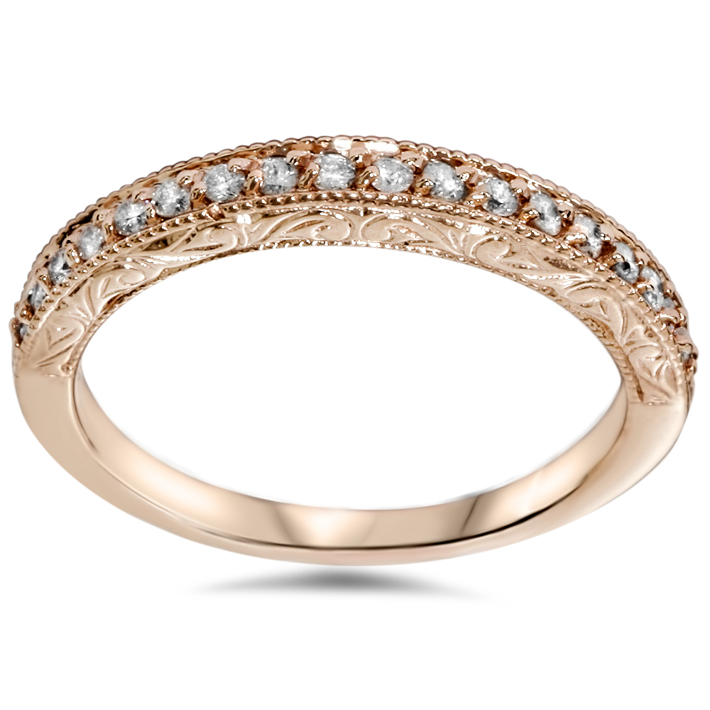 14 karat Rose Gold Diamond 1/2 ct Wedding Ring Womens Stackable Vintage Band