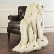 "Aurora Home Iced Fox Faux Fur Throw Blanket by Wild Mannered Off-White - 58"" x 36"""