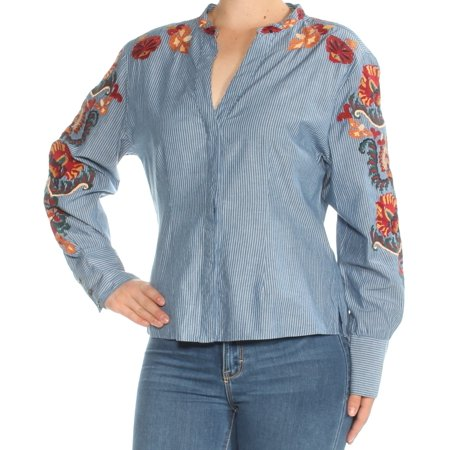 INC Womens Blue Embroidered Pinstripe Cuffed V Neck Top  Size: M