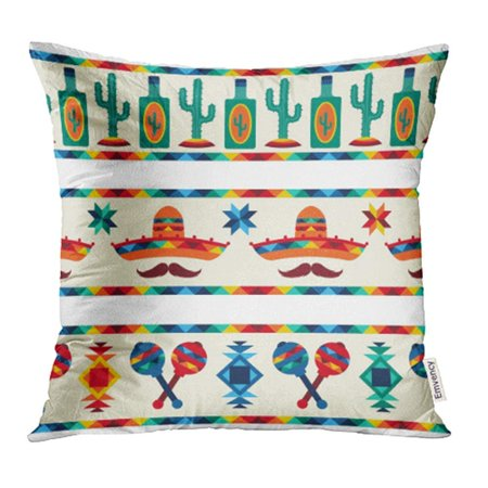 BSDHOME Party Mexican Borders in Native Style Mexico Fiesta Latino Cactus Tropical Pillowcase Cushion Cases 16x16 inch - image 1 de 1