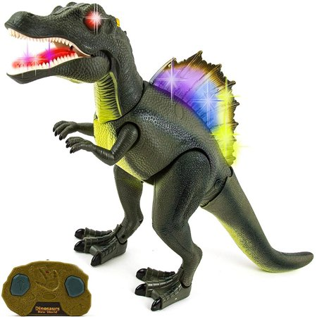 Toysery Radio Control Dinosaur Toy for Kids and Toddlers - Realistic Dinosaur Figures Toy with Flashing Lights and Dinosaur Sounds - Great Dinosaur Toy Gift Set (Battery Operated)