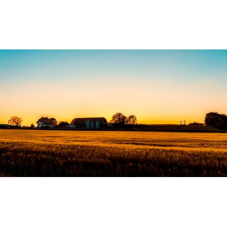Canvas Print Field Dusk House Farm Crop Sunset Barn Stretched Canvas 10 x 14