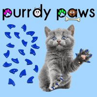 6 Month Supply - Purrdy Paws Blue Soft Nail Caps for Medium Cats Claws - Extra Adhesives