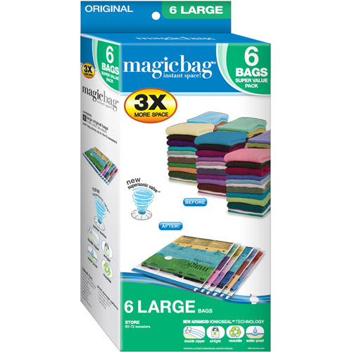 Magicbag Original Large, Instant Space, Storage Bags, 6pk