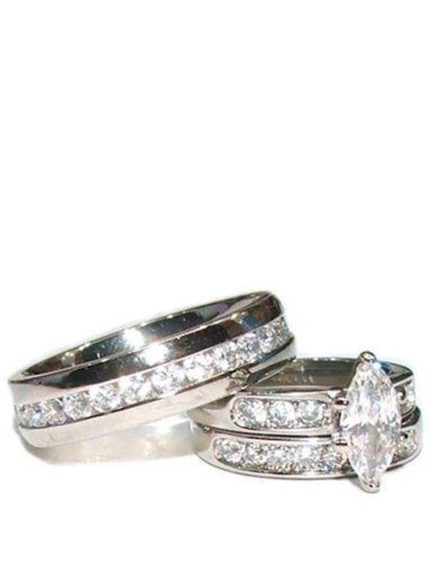 Details about  /Sterling Silver Wedding Ring Set 1//2 ct Cubic Zirconia CZ