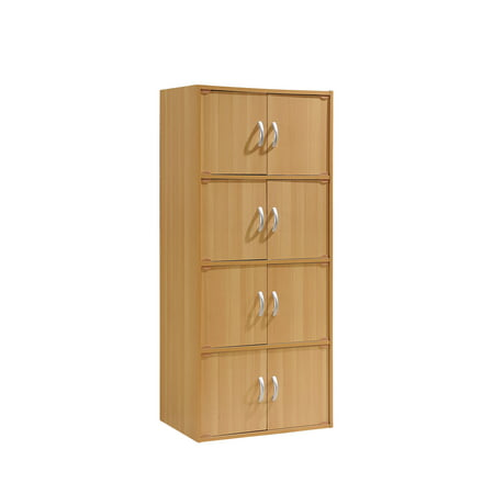 Mahogany Pine Cabinet (Hodedah 4-Shelf, 8-Door Multipurpose Cabinet, Multiple Colors)
