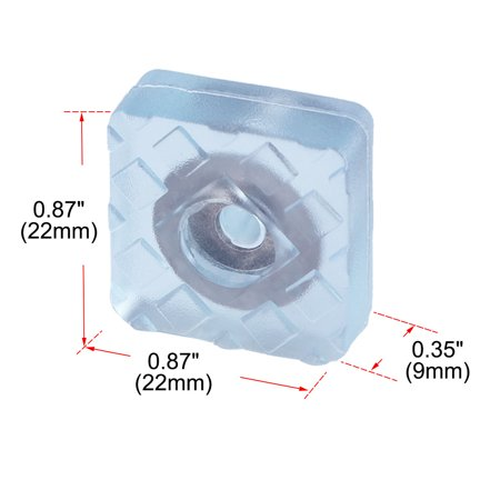 8pcs Square Rubber Feet Insert Metal Washer Leg Pad for Floor Protector 22x22mm - image 2 of 7