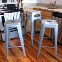 AmeriHome Loft Silver Metal Bar Stool 4 Piece by Buffalo Corp