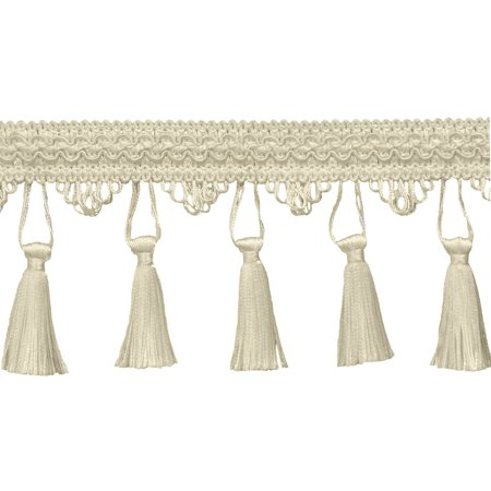 4 Inch Tassel Fringe Trim, Style# STF Color: White - A1,  Sold By the Yard