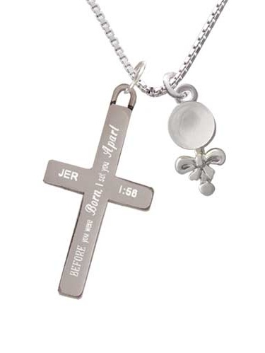 Clear Frosted Baby Rattle I Set You Apart Cross Necklace by Delight and Co.