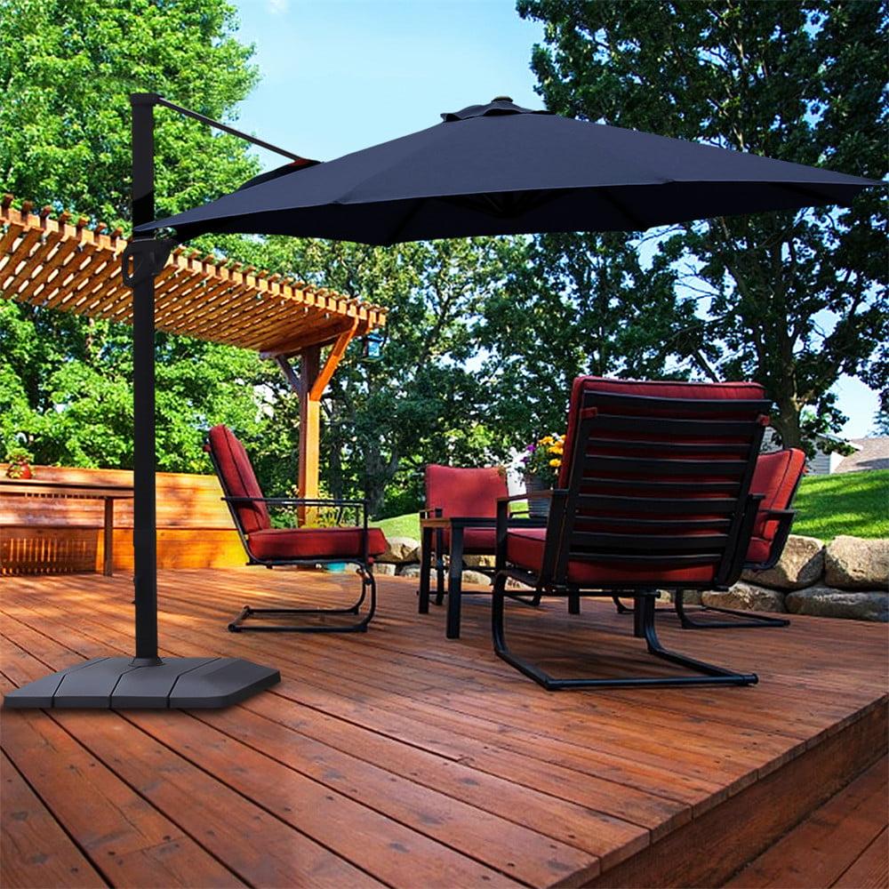 11ft outdoor patio umbrella with heavy duty base large cantilever umbrella windproof offset umbrella sun umbrella for garden deck pool patio blue