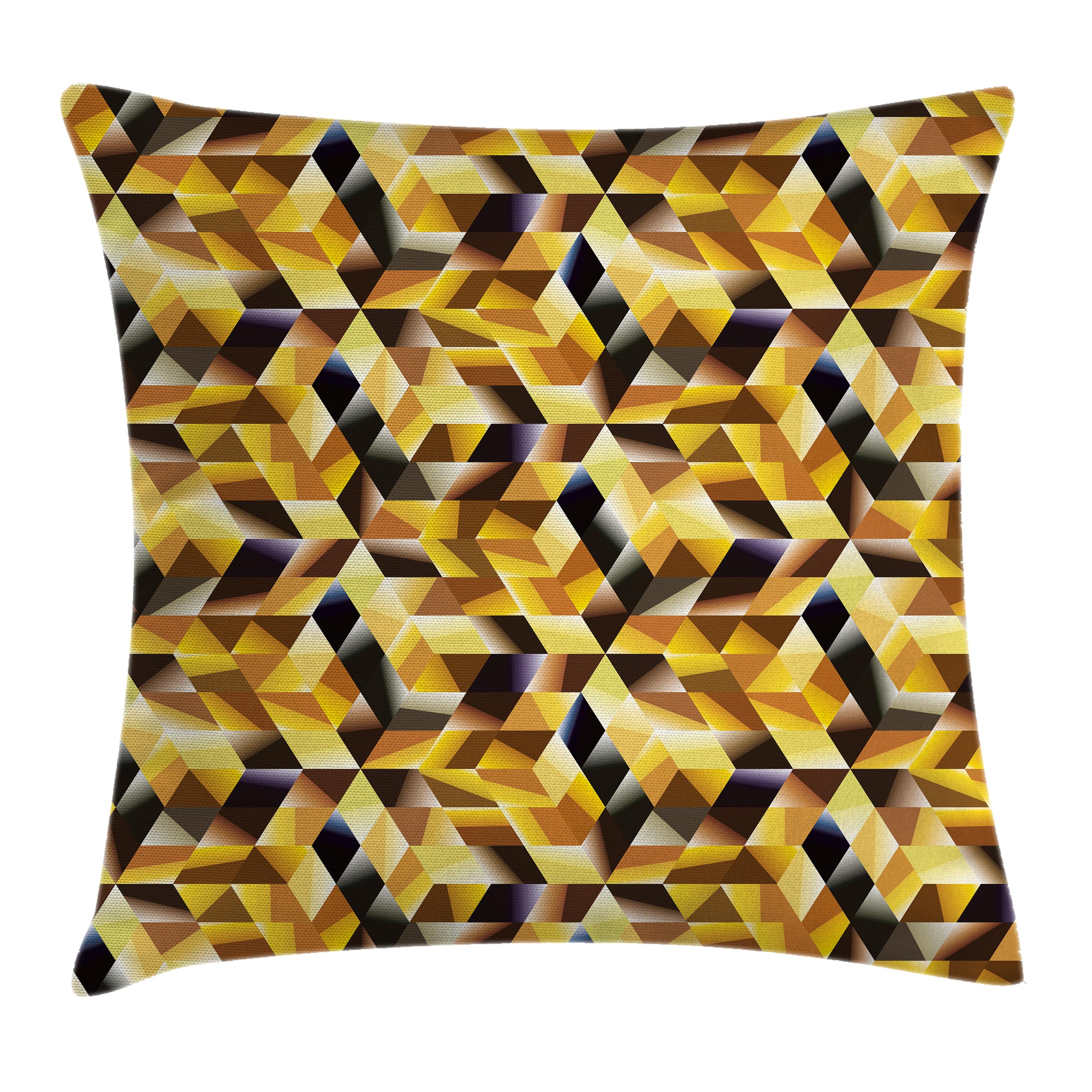 Gold Throw Pillow Cushion Cover, Cubes and Blocks Form Abstract Art Geometric Digital Graphic Art Pattern, Decorative Square Accent Pillow Case, 16 X 16 Inches, Gold Copper and Black, by Ambesonne