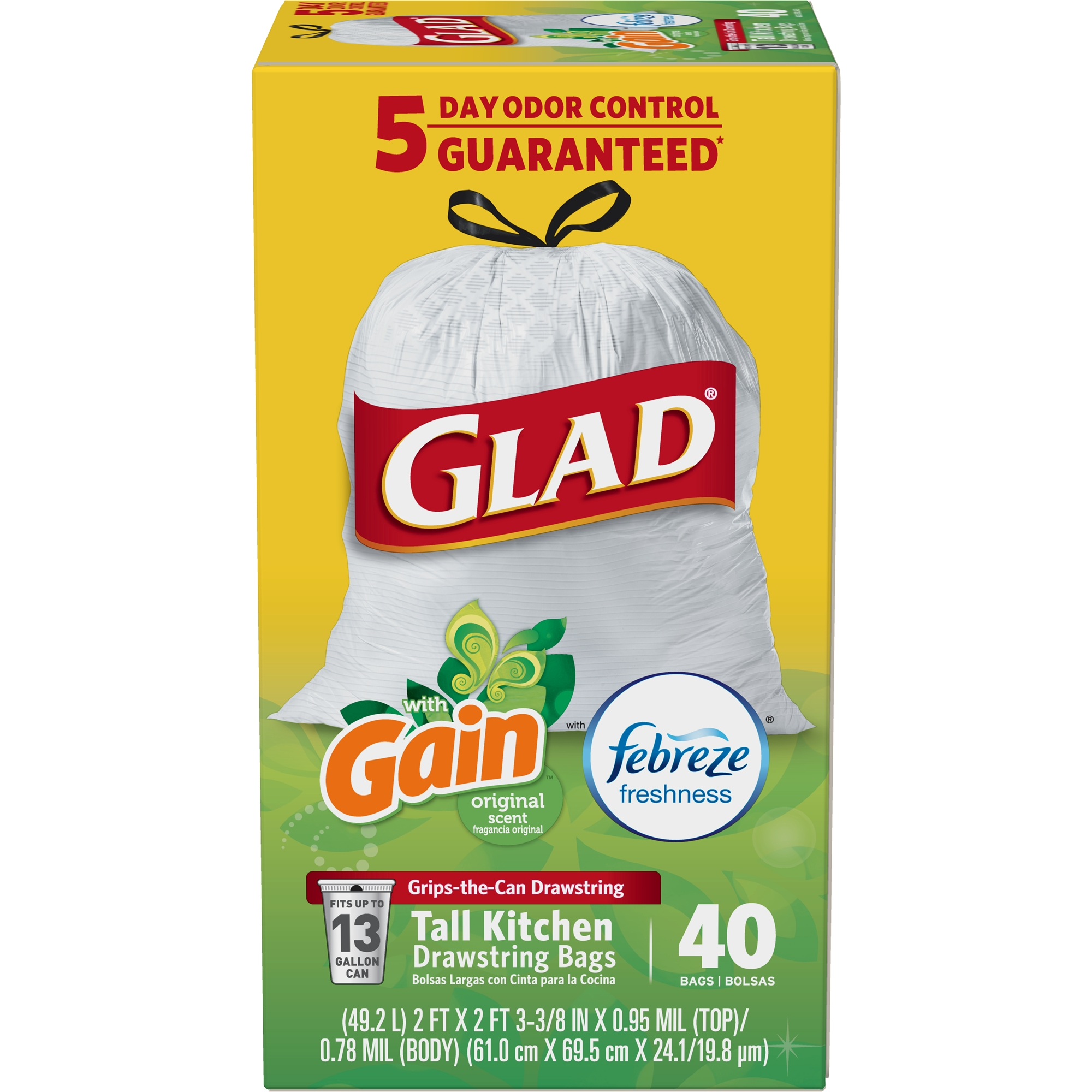 Glad OdorShield Tall Kitchen Drawstring Trash Bags, Gain Original with Febreze Freshness, 13 Gallon, 40 Count