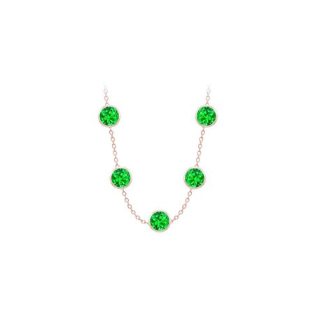 Created Emeralds Necklace on 14K Rose Gold Bezel Set 100.00 ct.tw - image 2 of 2