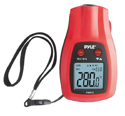 Pyle PMIR15 Mini Infrared Thermometer - Celsius, Fahrenheit Reading - Auto-off, Alarm, Hand Strap, Laser Pointer