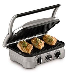 Cuisinart Griddler 4-in-1 Grill/Griddle and Panini Sandwich Press, Brushed Stainless-Steel/Black (Cuisinart 2 In 1 Grill And Sandwich Maker)