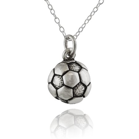 Sterling Silver Tiny Soccer Ball Charm Necklace, 18