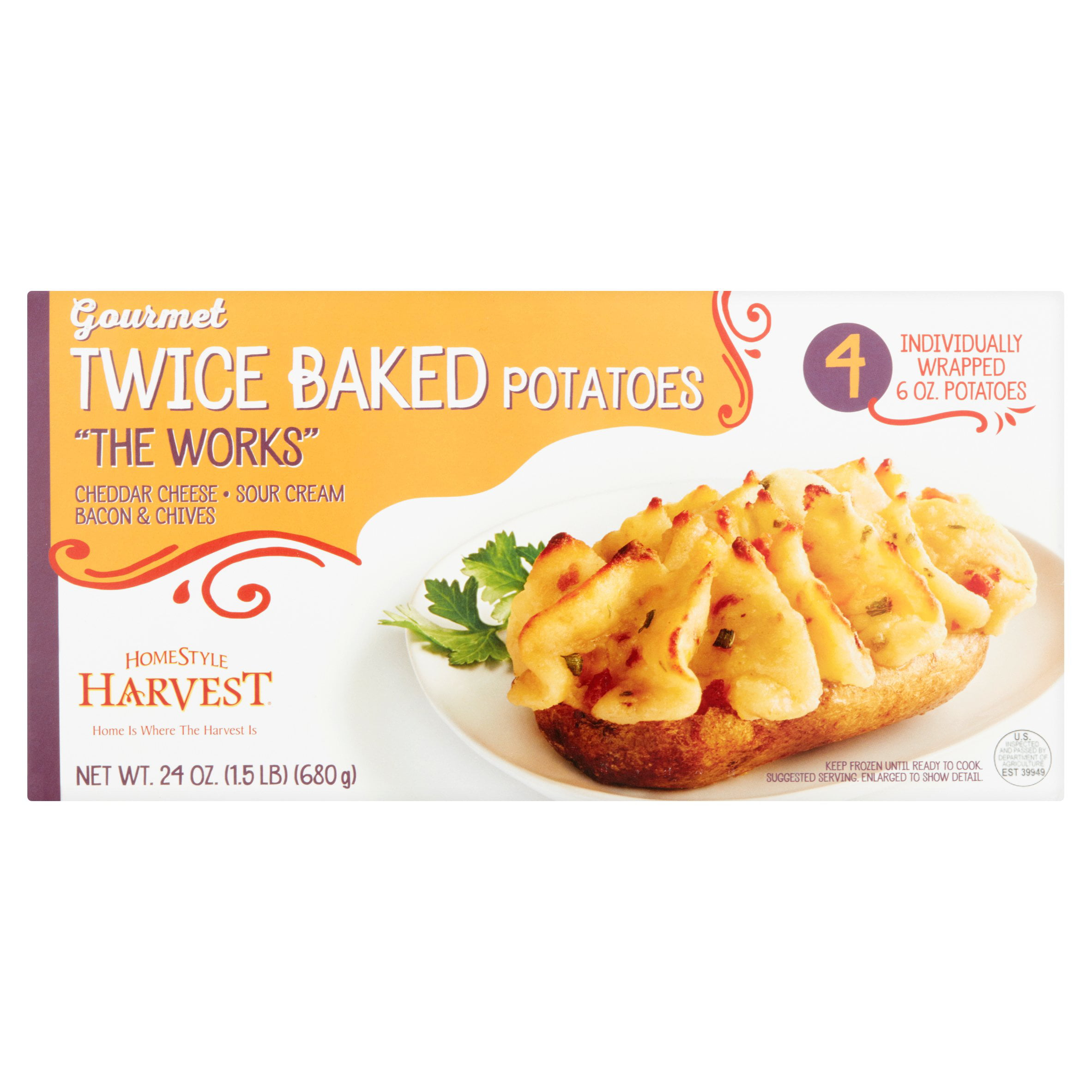 Homestyle Harvest The Works Twice Baked Potato 4 Individually Wrapped 6 Oz Potatoes Walmart Com Walmart Com
