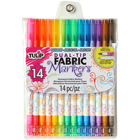 Tulip Dual-Tip Fabric Marker Set 14pc-Assorted Colors - Tulip Fabric Markers