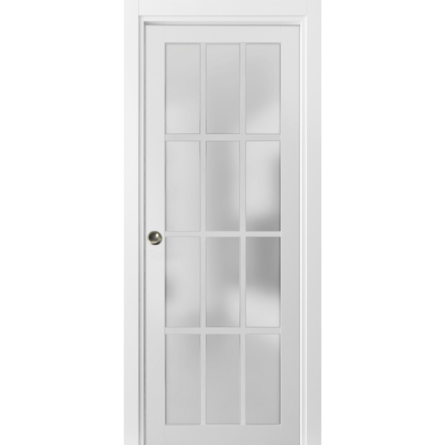 Sliding French Pocket Door 36 X 84 Inches With Frosted Glass 12 Lites Felicia 3312 Matte White Kit Trims Rail Hardware Solid Wood Interior Bedroom Sturdy Doors Walmart Com Walmart Com