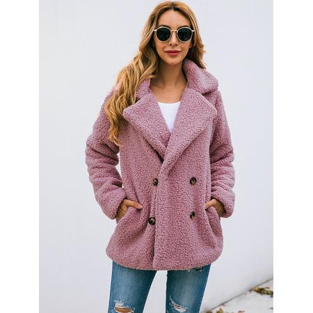 Dkj Women Faux Fur Jacket Fuzzy Teddy, Pink Teddy Bear Faux Fur Coat