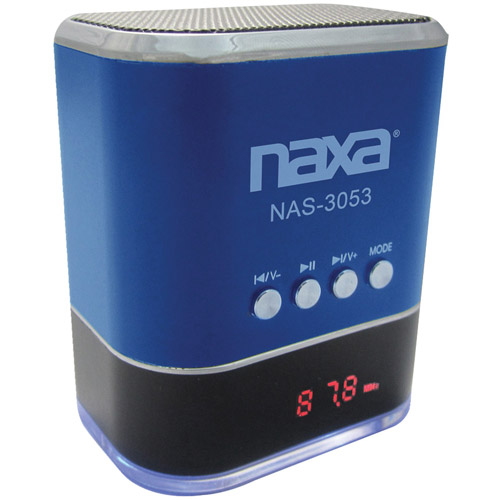 Portable Speaker with USB and SD/MMC Inputs and FM Radio with LED Display