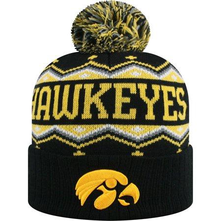 Iowa Hawkeyes Russell Sewn Cuffed Knit Hat With Pom - Black/Gold - OSFA