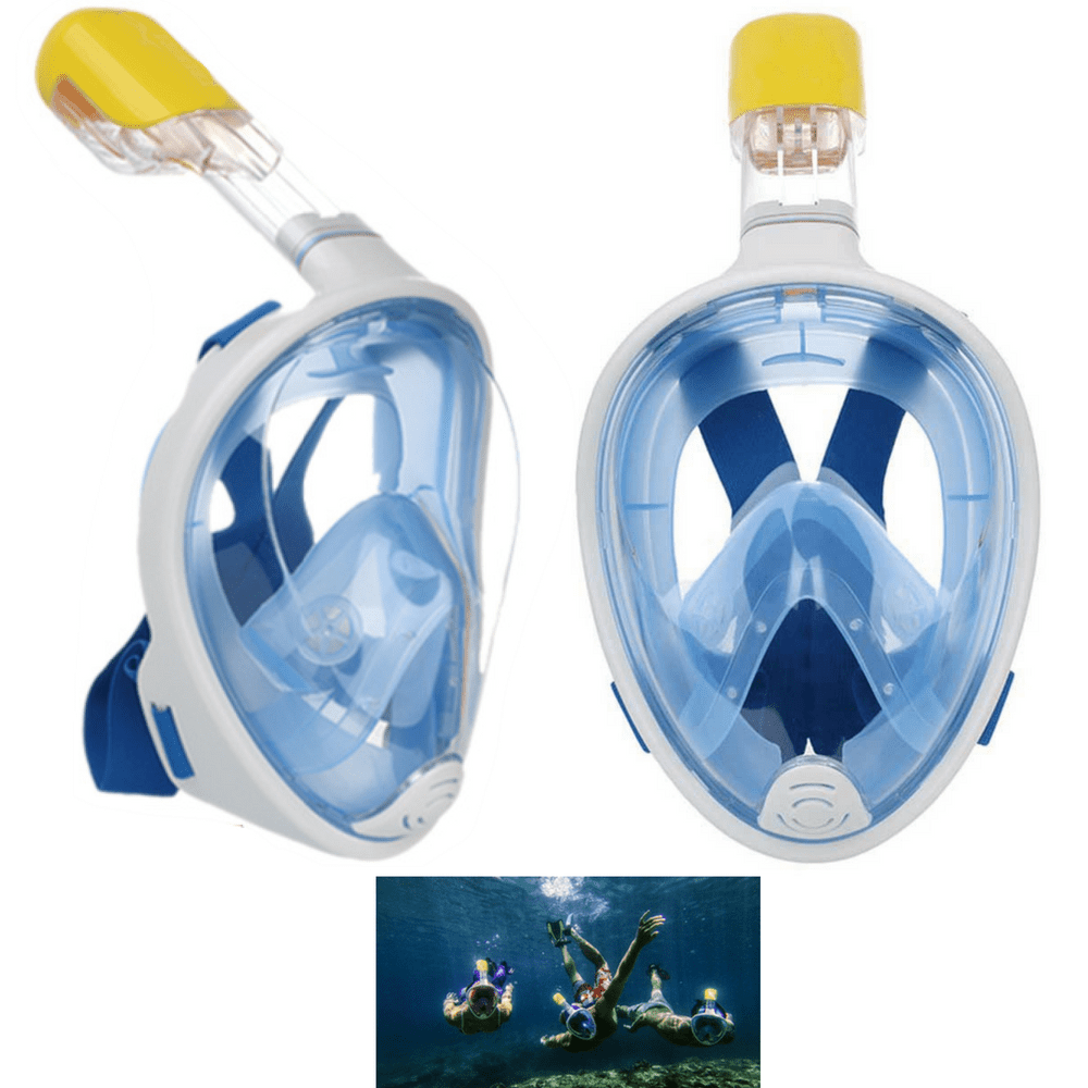 Click here to buy 2 Snorkel Mask Set 180 Degree Full Face Snorkel Masks for Adult or Kids with Anti Fog and Anti-Leak Technology Set of 2.