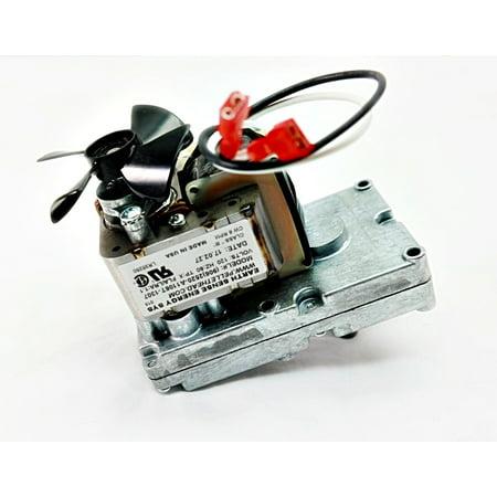 Clockwise Motor - HARMAN & HEATILATOR ECOCHOICE AUGER FEED FUEL MOTOR GEARBOX ASSEMBLY, 6 RPM CLOCKWISE, PF100, PB105, HF60, BH60, P68